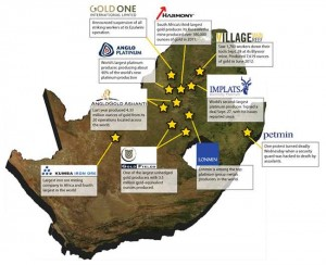 South Africa mining strikes map