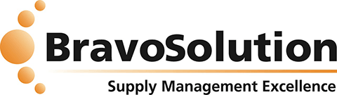 black and orange bravosolution supply management excellence logo
