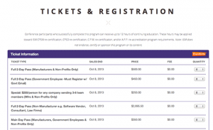 conference tickets registration commodity price risk management procurement
