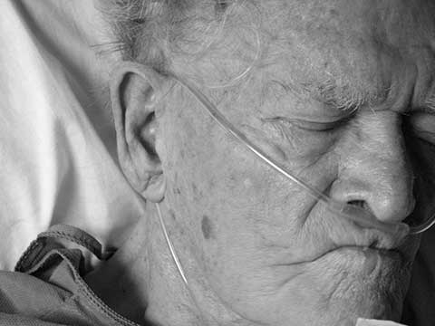 old sick man black and white