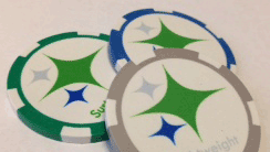 green blue gray poker chips US steel symbols