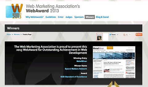 metalminer web award screenshot
