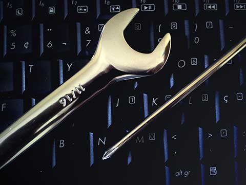 wrench on keyboard
